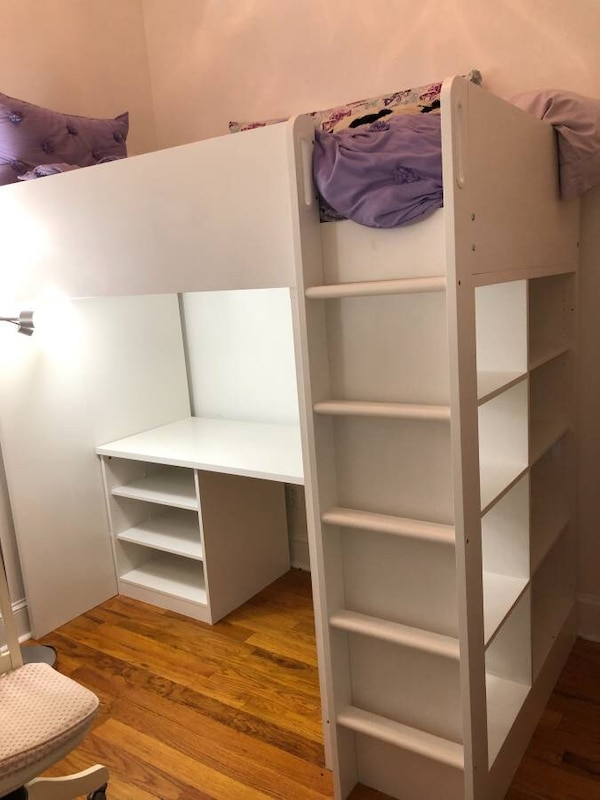 Sold Ikea Stuva Loft Bed Combo W 2 Shlvs 3 Shlvs White Twin In