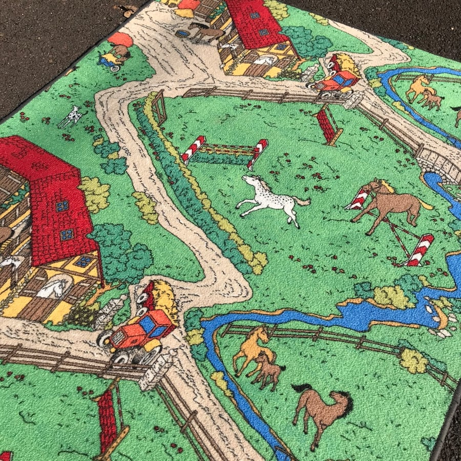 Horse Lovers Kid's Play Area  Rug