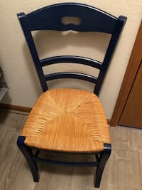 Two wicker bottom ladder chairs