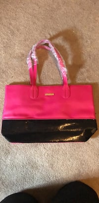 pink and black leather tote bag Stafford, 22554