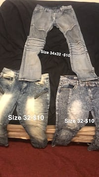 Biker jeans prices and size shown Dixmoor, 60426