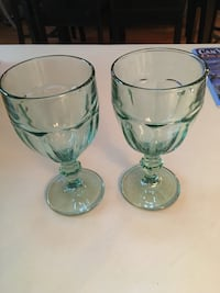 Two clear glass footed cups no chips
