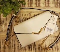 White Crossbody Handbag With Gold Accents