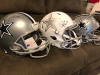 I have 3 cowboy helmets, all autographed and all come with a COA. In order from left to right, Demarcus Lawrence, Dak Prescott, Demarco Murray.  Strasburg, 22657