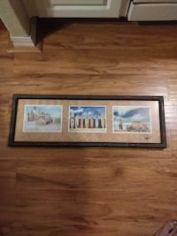 Three Surf Themed Images in Bamboo Frame.
