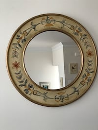 Pottery barn round gold floral framed wall mirror