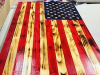 "Rustic wood American flag with hand carved stars 37""x20"" New York, 10310"