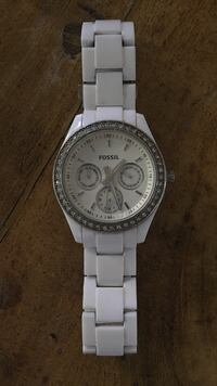White fossil watch.