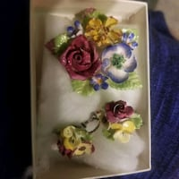 Vintage Floral design bone china earings and brooch  Edmonton, T5H 1H2