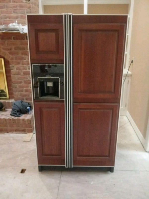 brown wooden front Side by Side Refrigerator