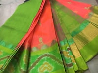 Handloom Kuppadam Buta with Pochampally ikkat Boarders sarees with Contrast Colour Rich Jerry pallu and Blouse - rs4700  whatsapp at  [TL_HIDDEN]  BANGALORE