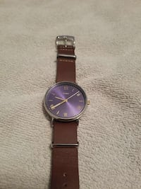 round silver analog watch with brown leather strap Belleville, 48111