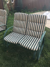 green and white striped padded 2-seat bench Hamilton, L0R 1C0