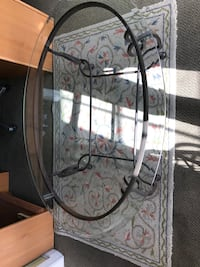 Iron sofa table with glass top