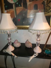 Pair crystal and wood lamps Burlington, L7R 3P8