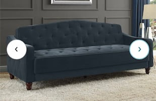 Vintage Tufted Sofa Couch Blue / Gray