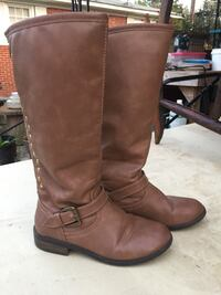 pair of brown leather knee-high boots Princeton, 27569