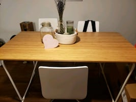 Bamboo table with white accent legs