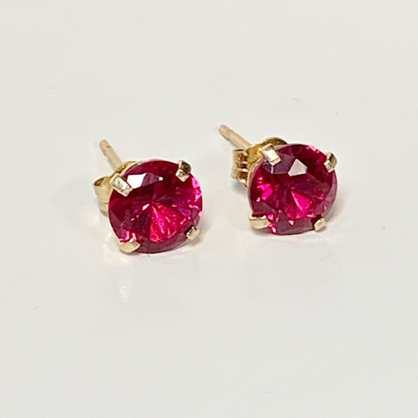Genuine 14k Yellow Gold Ruby Stud Earrings 1f51d9cf-8553-4292-9fd1-7e3e146ca56f