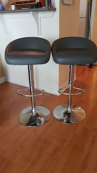 Two stainless steel base grey  padded bar stools! Never used! Toronto, M9W