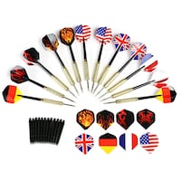 GWHOLE 12 Pcs Tip Darts with National Flag Flights Toronto