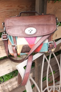 FOSSIL Genuine leather Crossbody bag with hand strap Maple Ridge