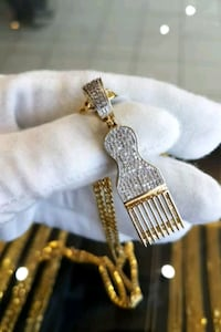 """10k real gold 22"""" curb chain with diamond pendant"""