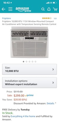 White frigidaire window-type air conditioner screenshot