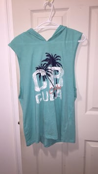 teal and white floral scoop-neck cap sleeve shirt Toronto, M2J 3A5