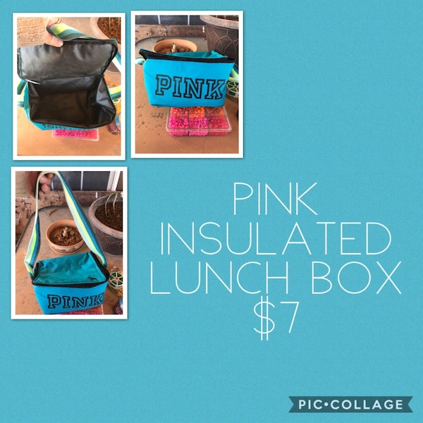 blue and black Pink Victoria's Secret insulated lunch box collage