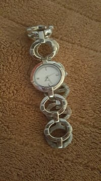 round silver analog watch with silver link bracelet ALBANY