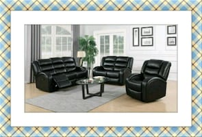Black leather like recliner Sofa and Loveseat