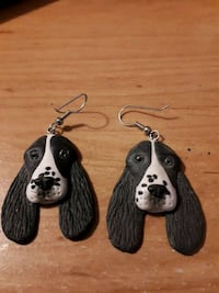 two black and white dog earrings  Edmonton, T5S 2B4