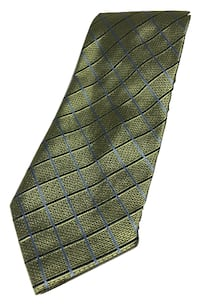 J. S. Blank Lime Green with Light Blue and Black Stripes 100% Silk Tie