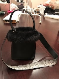 Faux fur leather bag with faux python crossbody strap Vancouver, V5W 3P7