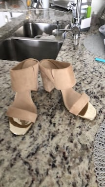 Suede beige sandal leather