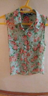 pink, green, and white floral sleeveless top Winnipeg