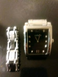 square silver-colored analog watch with link brace Phoenix, 85014