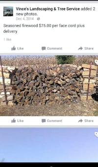 Seasoned firewood $75 facecord plus delivery