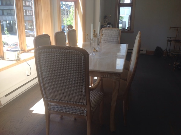 Wood And Travertine Dining Room Set Table And 6 Chairs Table De Salle A Manger En Bois Et Travertin