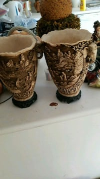 two brown-and-white ceramic vases Montréal, H3R 2E6