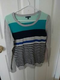 teal, black, gray, and blue striped scoop-neck swe Caledonia, N3W 1K5