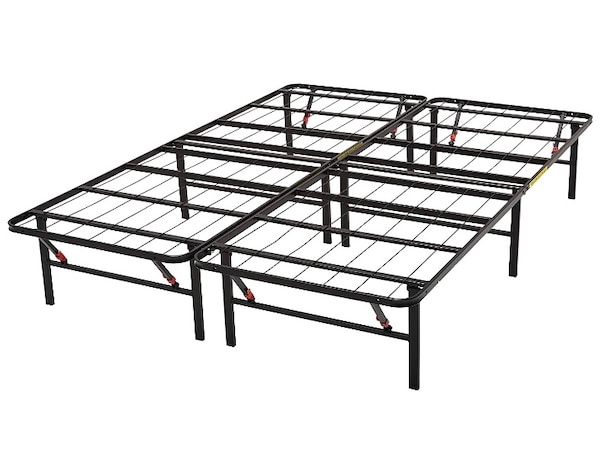 Black metal folding queen bed frame