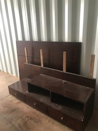 brown wooden TV stand with mount 1323 mi