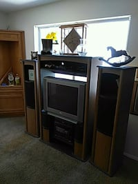 brown wooden TV hutch with flat screen television Spring Valley, 91977