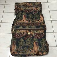brown and black floral luggage bag Vancouver, V5P 1T7