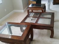Brown wooden framed glass top coffee table Richmond Hill, L4E