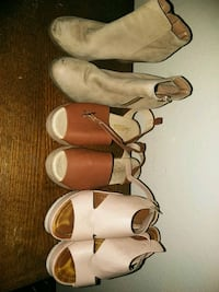 three pairs of leather sandals Indio