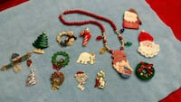 Christmas pins brooch necklace  lot 532 mi