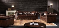 Sofa Couch Chesterfield Brown Leather Set NEW Baltimore